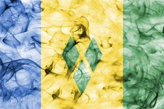 Saint Vincent and the Grenadines smoke flag. Isolated on a white background Stock Photos