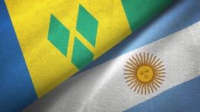 Saint Vincent och Grenadinerna och Argentina två flaggor stock illustrationer