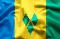 Saint Vincent och Grenadinerna färgrikt vinka och closeupflaggaillustration royaltyfri illustrationer