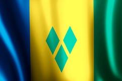 Saint Vincent och Grenadinerna färgrikt vinka och closeupflaggaillustration stock illustrationer