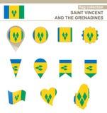 Saint Vincent och Grenadinerna flaggasamling royaltyfri illustrationer