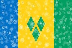 Saint Vincent och Grenadinerna vintersnöflingor sjunker stock illustrationer