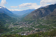 Saint Vincent. Panoramic view of the city of Saint Vincent in the Aosta Valley - Italy Royalty Free Stock Photography