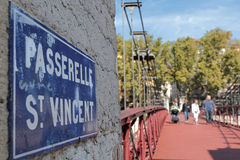 Saint-Vincent Pedestrian Bridge on Saone River Stock Images
