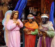 Saint and virgin  figurines in mexican market Royalty Free Stock Photos