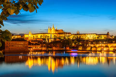 Saint Vitus Cathedral and Charles bridge on evening light, Pragu Royalty Free Stock Photos