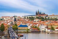 Saint Vitus cathedral and Charles bridge in Prague Stock Images