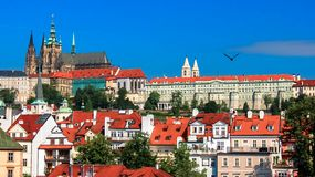 Saint Vitus cathedral with part of the palace complex Hradcany Prague. Czech Republic Stock Image