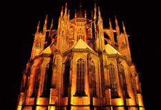Saint Vitus cathedral in Prague on black background Royalty Free Stock Photos