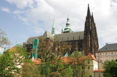 Saint Vitus cathedral and Prague castle Stock Images