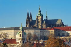 Landmark attraction in Prague: Catholic Saint Vitus Cathedral and Prague Castle - Czech Republic.  Stock Images