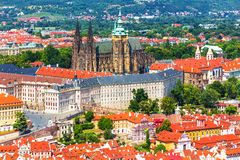 Saint Vitus Cathedral in Prague, Czech Republic. Scenic summer aerial view of Saint Vitus Cathedral church architecture in the Old Town of Prague, Czech Republic Royalty Free Stock Photo