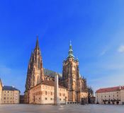 Saint Vitus Cathedral in Prague, low angle view. Stock Images