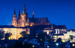 Saint Vitus Cathedral, Prague twilight view. The Prague Cathedral (Saint Vitus), built in gothic style, is the true spiritual center of the entire Czech country Stock Photos