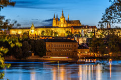 Saint Vitus Cathedral and Vltava river in evening lights, Prague Royalty Free Stock Images