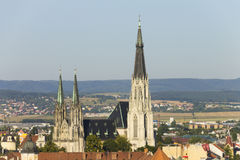 Saint Wenceslas Cathedral in Olomouc and czech nature in the background Stock Image