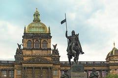 Saint Wenceslas Statue and Prague National Museum Stock Images