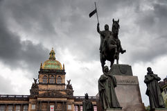 Saint Wenceslas (Svaty Vaclav) statue on Wenceslas Square Stock Image