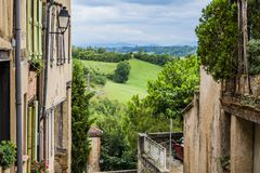 Saint Ybars village, in the French countryside. Middi Pyrenees France royalty free stock image