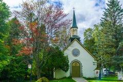 United Church of Canada in Sainte-Adele. Sainte-Adele, Canada - September 28, 2018: The United Church of Canada in Sainte-Adele, Laurentian Mountains, Quebec stock image