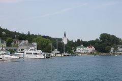 Sainte Anne Church and Mackinac Island Harbor Royalty Free Stock Photography
