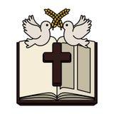 Sainte Bible avec la croix et les colombes en bois illustration libre de droits