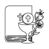 Sainte Bible avec le calice et les fleurs illustration libre de droits