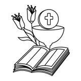 Sainte Bible avec le calice et les fleurs illustration de vecteur