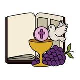 Sainte Bible avec le calice et les raisins illustration de vecteur
