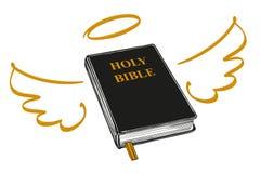 Sainte Bible avec les ailes et l'évangile de halo, la doctrine du christianisme, symbole de vecteur tiré par la main de christian illustration stock
