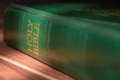 Sainte Bible verte au soleil Concept de religion et de foi Littérature religieuse Bible verte photographie stock libre de droits