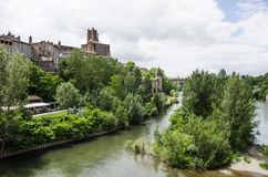 Sainte-Cecile Cathedral of Albi and river view of Albi France. Sainte-Cecile Cathedral of Albi and river view Royalty Free Stock Image