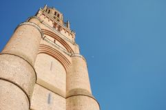 Sainte-Cecile cathedral in Albi, Tarn, France. Low angle view of Sainte-Cecile cathedral in Albi, Tarn, France Stock Photos
