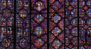 Sainte-Chapelle污点玻璃窗口,巴黎,法国 库存照片