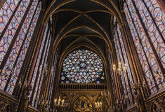 Sainte-Chapelle的内部 免版税库存照片