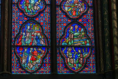 Sainte-Chapelle的教堂的彩色玻璃 免版税库存照片