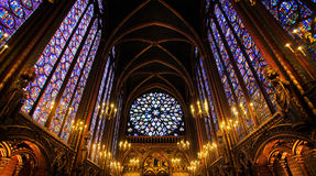 Sainte-Chapelle Chapel in Paris. France. Famous stained glass windows and ceiling Royalty Free Stock Photos
