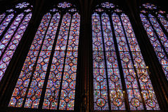Sainte Chapelle color glass window. Sainte Chapelle, inside color glass windows Stock Photo
