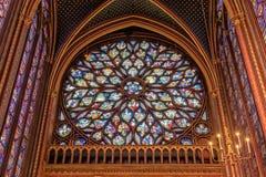 Sainte-Chapelle - nam vensterdetail toe Stock Foto's
