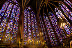 Sainte Chapelle, Paris. The interior of the Sainte Chapelle with its beautiful stained glass windows, Paris Royalty Free Stock Photos