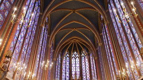 Sainte chapelle in Paris. Paris, France-November 22,2016:Sainte chapelle is situated at Cite island. It is famous for stained glass stock video footage