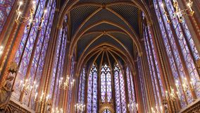 Sainte chapelle in Paris. Paris, France-November 22,2016:Sainte chapelle is situated at Cite island. It is famous for stained glass stock video