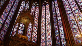 Sainte chapelle in Paris. Paris, France-November 22,2016:Sainte chapelle is situated at Cite island. It is famous for stained glass stock footage