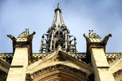 The Sainte-Chapelle is a royal chapel in the Gothic style of Paris. Gargoyles and sculptures in the façade of the Sainte-Chapelle, in the Cite Island in royalty free stock images