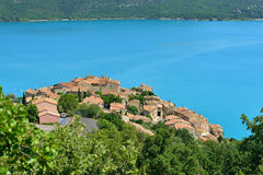 Sainte Croix du Verdon. Beautiful Medieval Village Sainte Croix du Verdon on the lake shore, Provence, France Stock Images