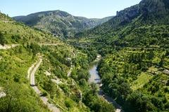 Sainte-Enimie,峡谷du塔恩省 图库摄影
