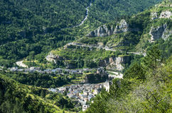 Sainte-Enimie, Gorges du Tarn. Sainte-Enimie, historic town on the Gorges du Tarn (Lozere, Languedoc-Roussillon, France) at summer Stock Photography
