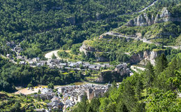 Sainte-Enimie, Gorges du Tarn. Sainte-Enimie, historic town on the Gorges du Tarn (Lozere, Languedoc-Roussillon, France) at summer Royalty Free Stock Image