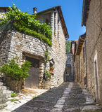 Sainte-Enimie, Gorges du Tarn. Sainte-Enimie, historic town on the Gorges du Tarn (Lozere, Languedoc-Roussillon, France) at summer Stock Photo