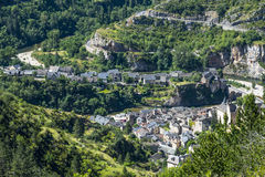 Sainte-Enimie, Gorges du Tarn. Sainte-Enimie, historic town on the Gorges du Tarn (Lozere, Languedoc-Roussillon, France) at summer Royalty Free Stock Photo